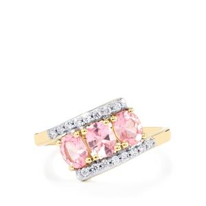 Pink Spinel & White Zircon 9K Gold Ring ATGW 1.28cts