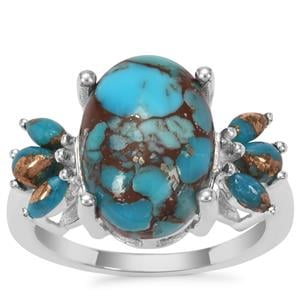 Egyptian Turquoise Ring With Copper Turquoise in Sterling Silver 6.08cts