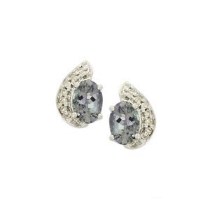 Bi-Colour Tanzanite & Diamond 9K White Gold Earrings ATGW 1.23cts