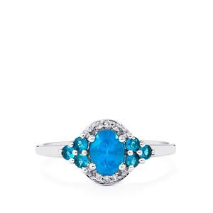 Neon Apatite Ring with White Zircon in 9K White Gold 0.82cts