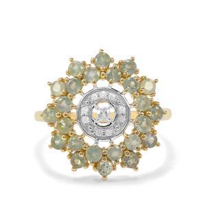 Alexandrite & Ceylon White Sapphire 9K Gold Ring ATGW 1.39cts