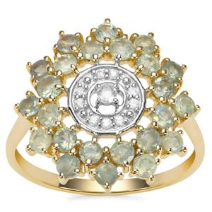 Alexandrite Ring with Ceylon White Sapphire in 9K Gold 1.39cts