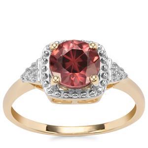 Zanzibar Sunburst Zircon Ring with Diamond in 9K Gold 2.03cts