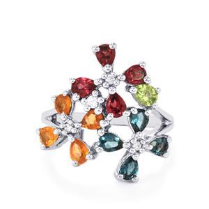 2.60ct Kaleidoscope Gemstones Sterling Silver Ring