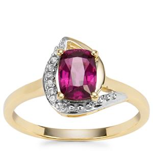 Comeria Garnet Ring with White Zircon in 9K Gold 1.26cts