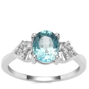 Ratanakiri Blue Zircon Ring with White Zircon in 9K White Gold 2.31cts