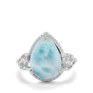 Larimar & White Zircon Sterling Silver Ring ATGW 5.23cts
