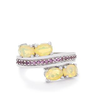 Ethiopian Opal & Amethyst Sterling Silver Ring ATGW 1.31cts