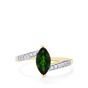 Chrome Diopside & White Zircon 9K Gold Ring ATGW 1.18cts