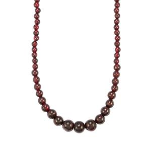 108ct Rhodolite Garnet Sterling Silver Graduated Bead Necklace
