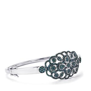 Blue Diamond Oval Bangle in Sterling Silver 1.55cts