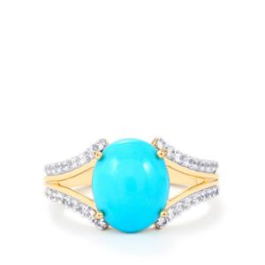 Sleeping Beauty Turquoise Ring with White Zircon in 9K Gold 3.90cts
