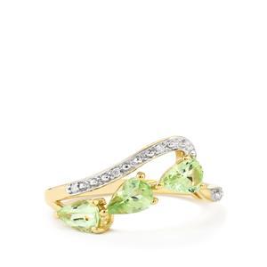 Ultraviolet Colour Change Garnet & Diamond 9K Gold Ring ATGW 1.23cts