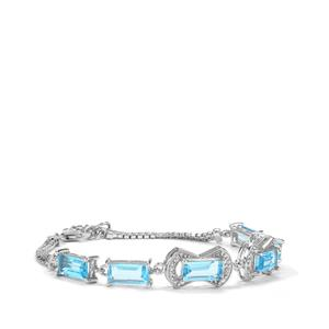 Swiss Blue Topaz Bracelet with White Topaz in Sterling Silver 11.41cts