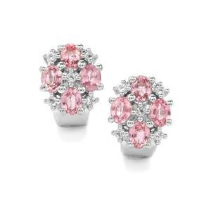 Sakaraha Pink Sapphire & White Topaz Sterling Silver Earrings ATGW 2.13cts