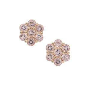 Cherry Blossom Morganite Earrings in 9K Gold 3.20cts