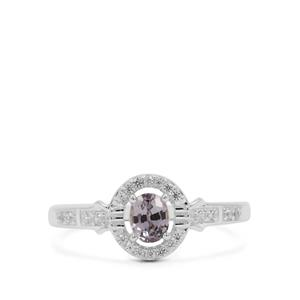 Mogok Silver Spinel Ring with White Zircon in Sterling Silver 0.64ct