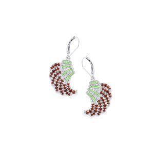 1.98ct Red & Tsavorite Garnet Sterling Silver Earrings