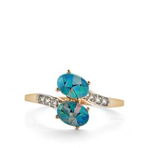 Mosaic Opal Ring with White Zircon in 10K Gold