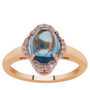 Swiss Blue Topaz & Diamond 18K Gold Tomas Rae Ring ATGW 2.10cts