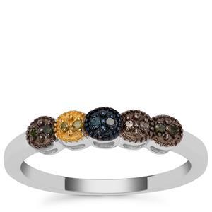 Multi-colour Diamond Ring in Sterling Silver 0.06ct