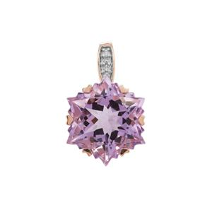 Wobito Snowflake Cut Rose De France Amethyst Pendant with Diamond in 9K Rose Gold 7.25cts