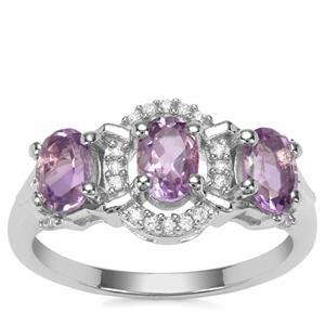 Moroccan Amethyst Ring with White Zircon in Sterling Silver 1.40cts