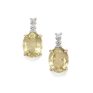 Sillimanite & White Zircon 9K Gold Earrings ATGW 4.56cts