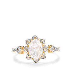 Singida Tanzanian Zircon & Champagne Diamond 9K Gold Ring ATGW 1.94cts