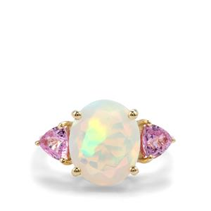 Ethiopian Opal Ring with Sakaraha Pink Sapphire in 10K Gold 3.41cts