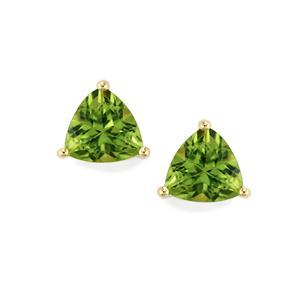 Changbai Peridot Earrings In 9k Gold 2 61cts