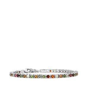 5.16ct Rainbow Tourmaline Sterling Silver Bracelet