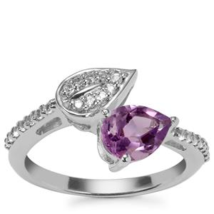 Zambian Amethyst Ring with White Topaz in Sterling Silver 1.35cts