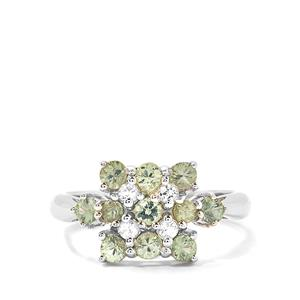 Songea Green Sapphire & White Topaz Sterling Silver Ring ATGW 1.37cts
