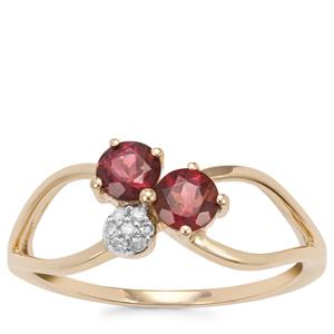 Pink Tourmaline Ring with Diamond in 9K Gold 0.56cts