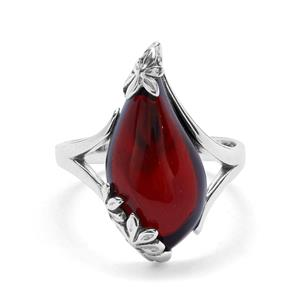 Baltic Cherry Amber Ring  in Sterling Silver (19 x 10mm)