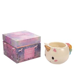 Mythical Collection - Unicorn Mug Candle with Strawberry fragrance and Strawberry Quartz ATGW 5cts