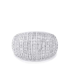 Diamond Ring in Sterling Silver 1ct