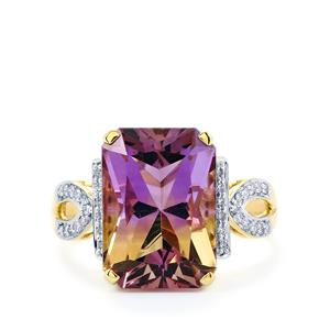 Anahi Ametrine Ring with White Diamond in 14K Gold 6.69cts