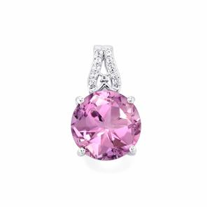 Lone Star Rose De France Amethyst Pendant with White Topaz in Sterling Silver 6.41cts