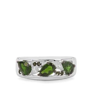 Chrome Diopside, Green Tourmaline & White Zircon Sterling Silver Ring ATGW 1.72cts