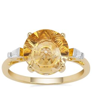 Lehrer Quasar Cut Diamantina Citrine Ring with White Zircon in 9K Gold 2.95cts