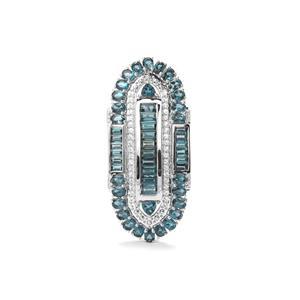 The Regal Marambaia London Blue Topaz & White Zircon Sterling Silver Brazilian Brooch ATGW 11.51cts