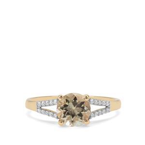Csarite® & White Zircon 9K Gold Ring ATGW 1.62cts