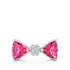 3.96ct Mystic Pink & White Topaz Sterling Silver Ring