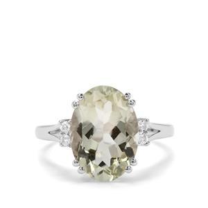 Prasiolite & White Topaz Sterling Silver Ring ATGW 5.43cts