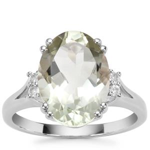 Prasiolite Ring with White Topaz in Sterling Silver 5.43cts