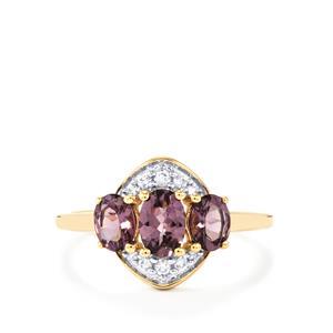 Mahenge Purple Spinel & White Zircon 9K Gold Ring ATGW 1.34cts