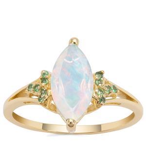 Kelayi Opal Ring with Tsavorite Garnet in 9K Gold 1.08cts