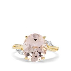 Rose Danburite & White Zircon 9K Gold Ring ATGW 4.54cts